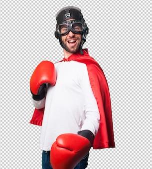 Super held bokshandschoenen dragen
