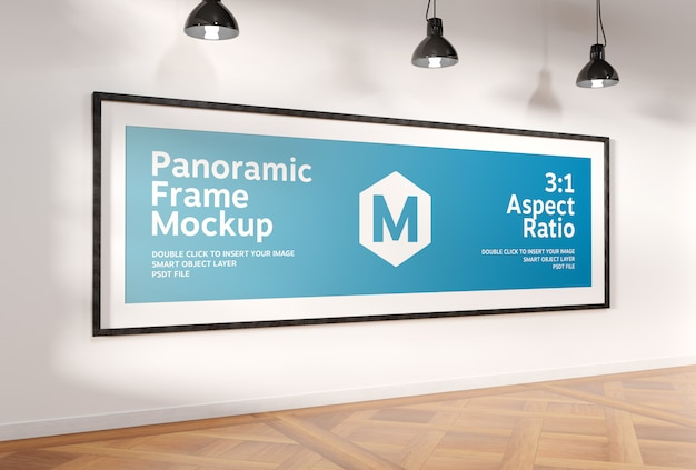 Super panoramisch kader in interieur mockup