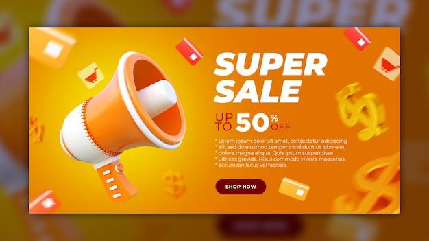 Super sale banner 3d render-sjabloon