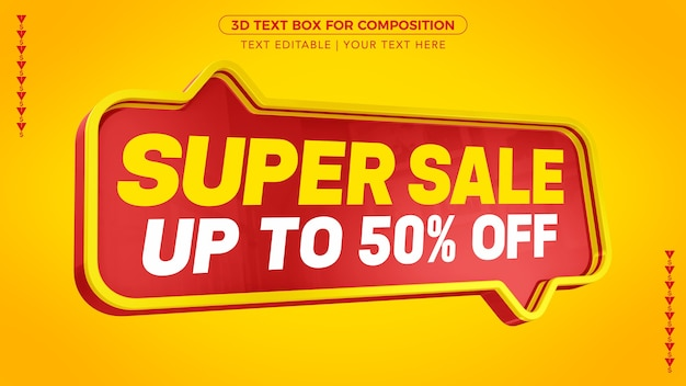 Super sale d-tekstvak met korting in 3d-rendering