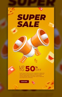 Super sale social media story contact story banner met element 3d render