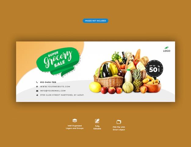 Super supermarkt verkoop sociale media banner