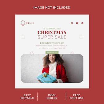 Super venta navideña para plantilla de redes sociales