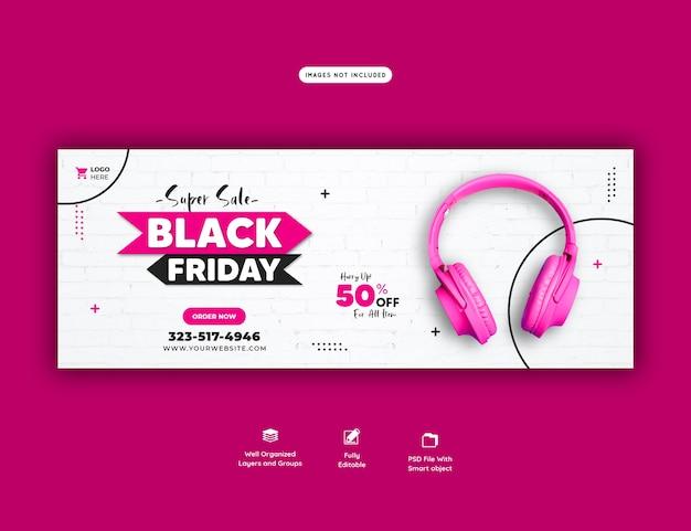 Super verkoop zwarte vrijdag facebook omslagsjabloon voor spandoek