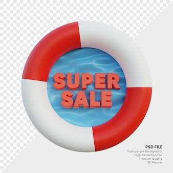 Super verkoopbadge met 3d teruggegeven de zomerstijl