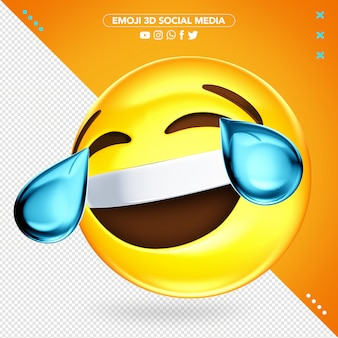 Super vrolijke 3d-emoji die huilt tijdens het lachen Premium Psd