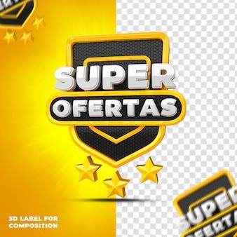 Superaanbiedingen met geel podium voor braziliaanse campagnes 3d render