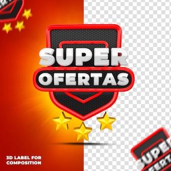 Superaanbiedingen met rood podium voor braziliaanse campagnes 3d render