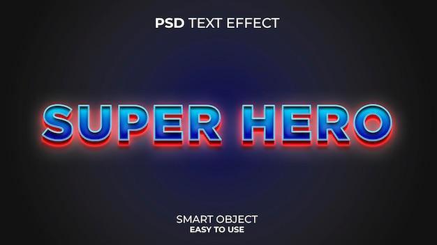 Superheld teksteffectsjabloon met rode en blauwe kleuren
