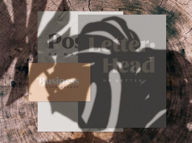 Superposición de sombras y maqueta de papelería