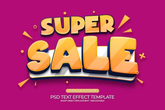 Superventa plantilla personalizada de efecto de texto 3d con fondo de color rojo y amarillo naranja