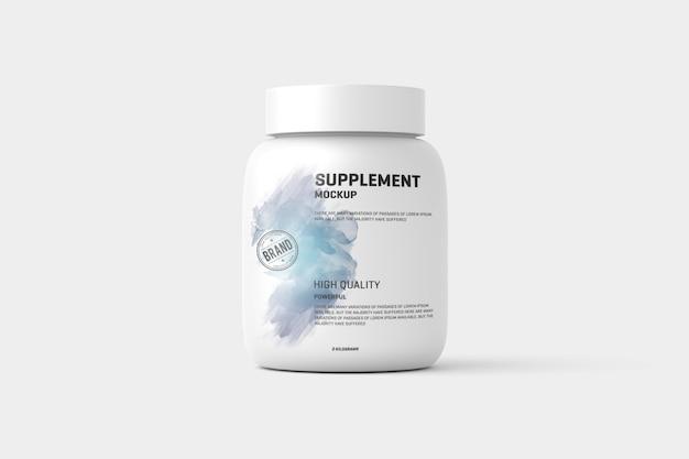 Supplemento / etichetta del barattolo di proteine mock up