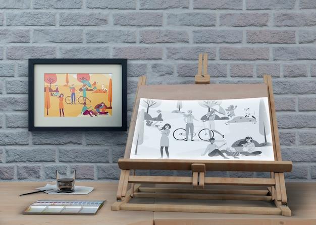 Supporto alla pittura con opere artistiche