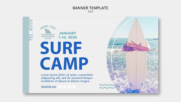 Surf banner sjabloon thema