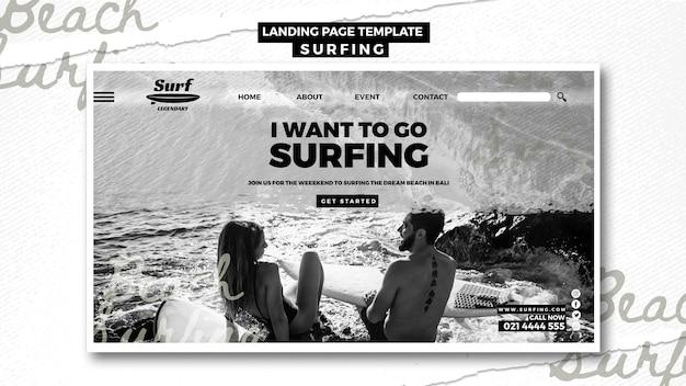 Surfen bestemmingspagina ontwerp