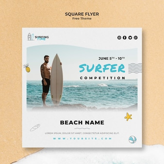 Surfer flyer sjabloon thema