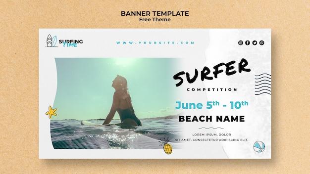 Surfer-sjabloon voor spandoek