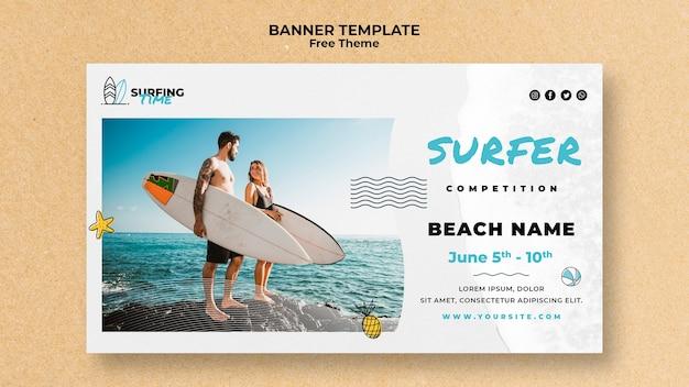 Surfer sjabloonontwerp spandoek