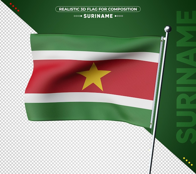 Suriname 3d-vlag met realistische textuur