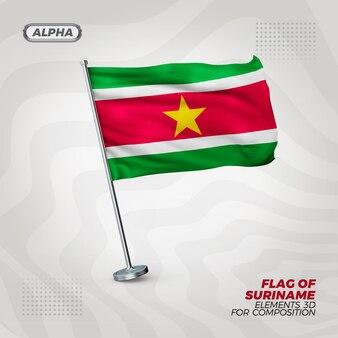 Suriname realistische 3d getextureerde vlag voor samenstelling