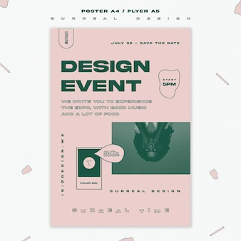 Surrealistisch ontwerp evenement sjabloon flyer