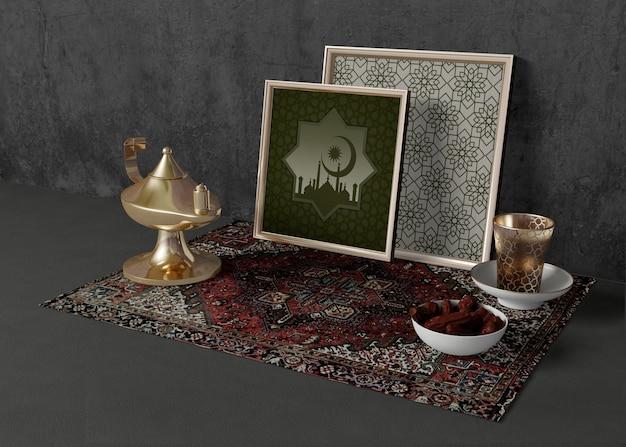 Surtido de diferentes elementos del ramadán.