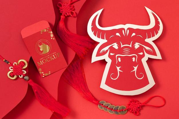 Surtido de elementos de maqueta isométrica de año nuevo chino