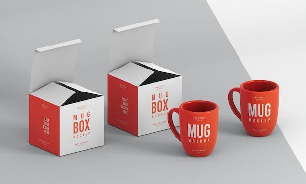 Surtido de maquetas de cajas para tazas