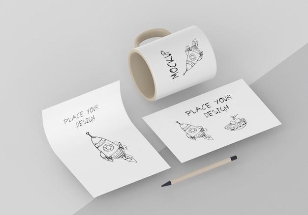 Surtido de maquetas de tazas personalizadas