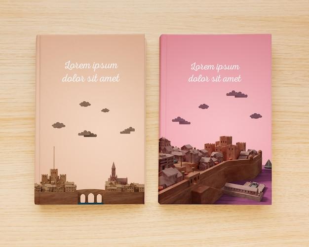 Surtido plano de libros minimalistas que cubren una variedad de maquetas
