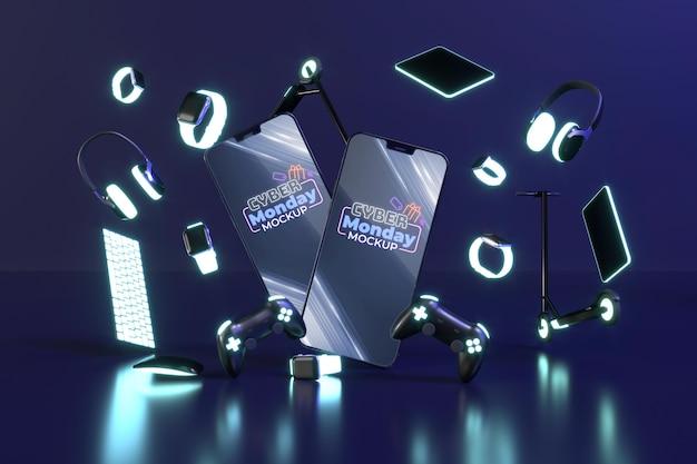 Surtido de rebajas de cyber monday con maqueta de teléfonos inteligentes