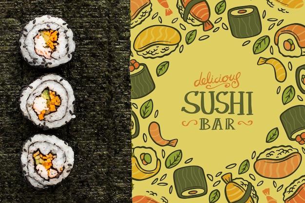 Sushi bar con menu di sushi mock-up
