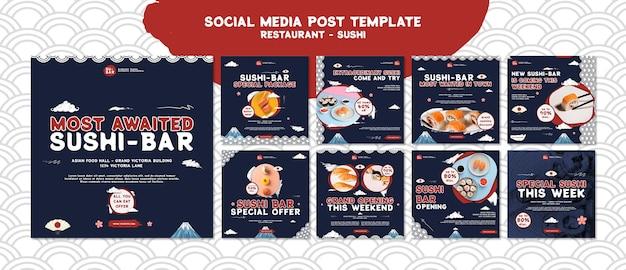 Sushi berichten op sociale media