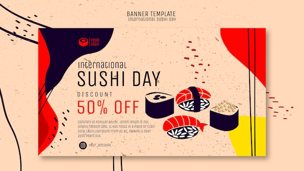Sushi dag banner met aanbieding