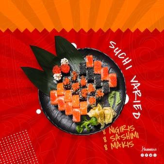 Sushi receta con pescado crudo para restaurante de comida japonesa, oriental o asiática