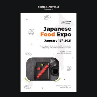 Sushi restaurant expo poster afdruksjabloon