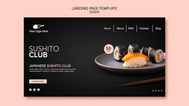 Sushi restaurant sjabloon bestemmingspagina