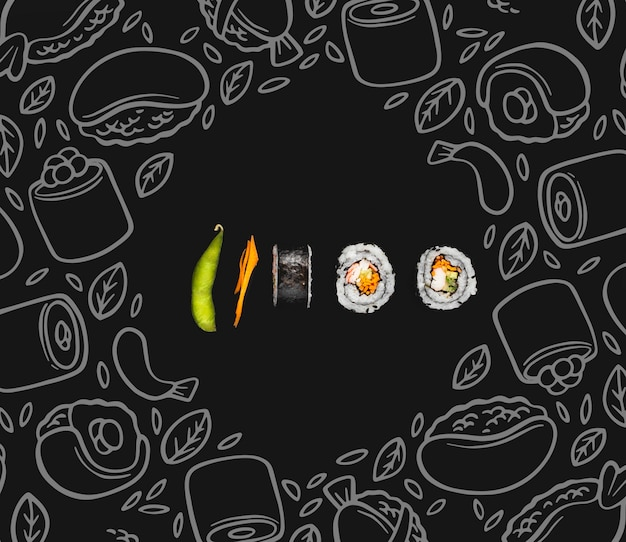 Sushi rolt op tafel met mokc-up