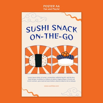 Sushi snack poster sjabloon