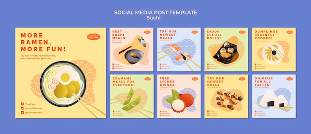 Sushi social media postsjabloon