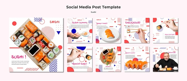 Sushi sociale media postsjabloon