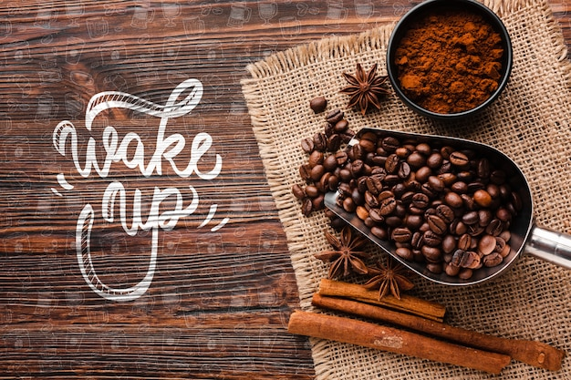 Sveglia sfondo con roba di caffè