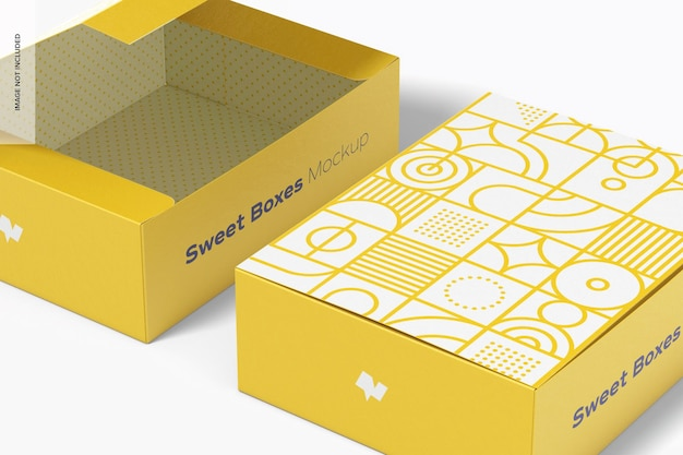 Sweet box mockup, close-up