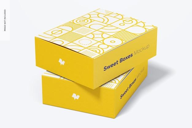 Sweet boxes mockup, gestapeld