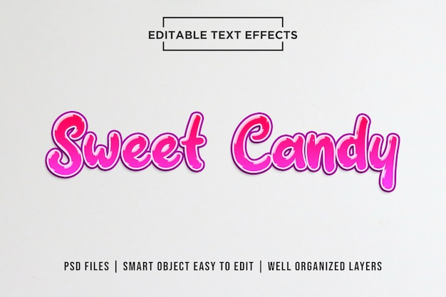 Sweet candy bewerkbare teksteffectsjablonen