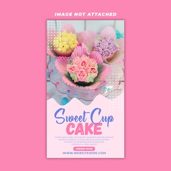 Sweet cup cake story design