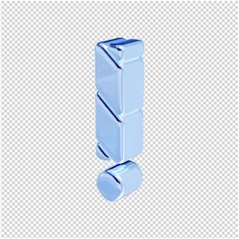 Symbolen gemaakt van blauw ijs draaiden naar links. 3d-symbool