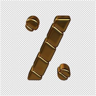Symbolen gemaakt van goudstaven. 3d-symbool