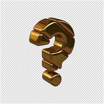 Symbolen gemaakt van goudstaven naar rechts gedraaid op een transparante achtergrond. 3d symbool vraag
