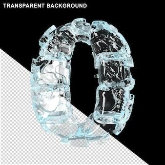 Symbolen gemaakt van ijs op een transparante achtergrond. 3d-nummer 0